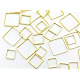 フレームパーツ ゴールド 四角 3サイズmix【0.8cm 1.0cm 1.4cm】サークル 各サイズ4個ずつ計12個 レジンクラフト 型 枠 チャーム ピアス イヤリング パーツ