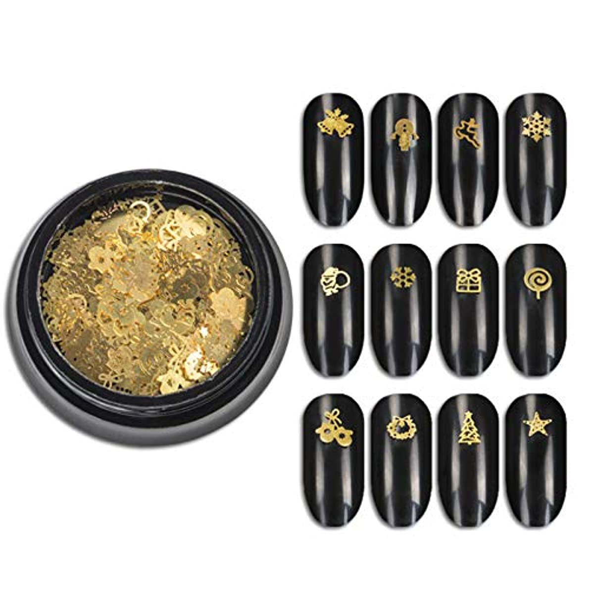 黒人キルト叫ぶ1ボトル3Dゴールドメタルスライスネイルアートデコレーションクリスマススノーフレークスターミックスデザイン中空チニーチップマニキュアアクセサリー