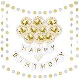Happy Birthdayゴールドバナーデコレーションセット   16パックゴールド紙吹雪バルーン詰め済み   16フィート鮮やかなガーランド