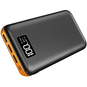 モバイルバッテリー24000mAh 大容量 LCD残量表示 PSE認証済 2USB入力ポート 3USB出力ポート スマホ充電器 iPhone/iPad/Android各種対応(Black&Orange)