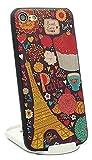 pelta iPhone 7 / 8 ケース カバー 韓国 かわいい パリ paris イラスト 型押し エンボス加工 SWEET LOVE レトロ 立体 シリコン スリム スタイリッシュ おしゃれ 海外 おそろい ペア 個性的 レディース ガーリー インスタ ソフト きれい 滑り防止 薄型 薄い 軽量 軽い 日本製クリーナー付き (iPhone7/8 兼用, ブラック/黒)