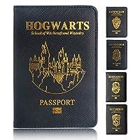 TRASSORY 多機能 Rfid ブロッキングハリーポッターパスポートカバー革のホグワーツグリフィンドール Ravenclaw パスポートホルダーケースレディース革財布