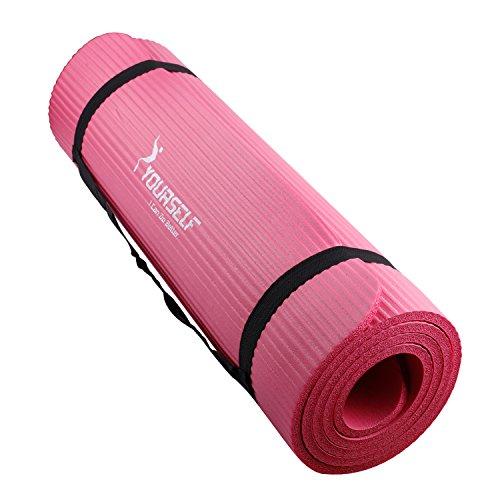 Syourself ヨガマット トレーニングマット エクササイズマット ゴムバンド・収納ケース付 厚さ10mm(Pink)