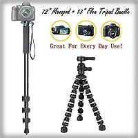 """万能Full Sized 72""""一脚+ 13"""" Rugged柔軟な三脚バンドルfor Olympus c-8080Wideズーム–ポータブル三脚、脚フレキシブルカメラサポート"""