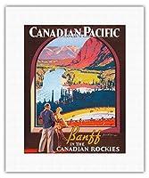 カナダ太平洋 - カナディアンロッキーのバンフ - ビンテージな鉄道旅行のポスター によって作成された ジェームス・クロッカート c.1936 - キャンバスアート - 28cm x 36cm キャンバスアート(ロール)