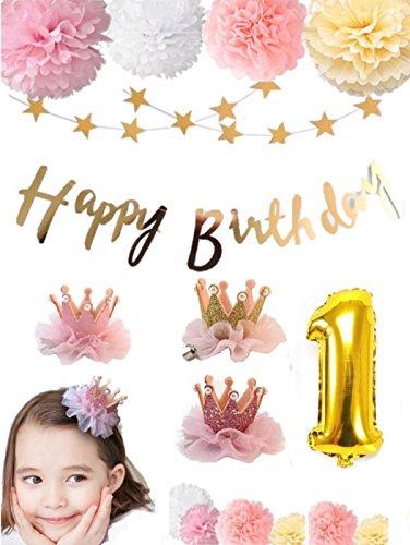 〜 すべての女の子へ 〜 【 SelfMake 】 お誕生日 バースデーセット 豪華内容(クラウン2色付き・ペーパーフラワー9輪・HappyBirthday & スターガーランド。選択オプションバルーン)