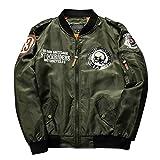 メンズ ジャケット ブルゾン ミリタリー ジャンパー フライジャケット MA-1 黒 緑 紺 M L XL (グリーン M)