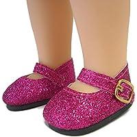 ホットピンクグリッター靴for American Girl Wellie Wishers Dolls by DCSB