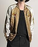 刺繍入り サテンスカジャン 虎 トラ 鷹 JAPAN 日本 MA-1ジャケット ノーカラー メンズ カジュアル ストリート オリーブ(虎) Mサイズ
