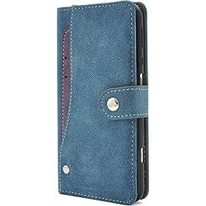 PLATA AQUOS ZETA SH-04H/AQUOS SERIE SHV34/AQUOS Xx3 ケース 手帳型 スライド カード ポケット ソフト レザー 手帳 カバー 【 ブルー 青 blue 】 DSH04H-97BL