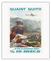 趣のあるキト - エクアドルアンデス - パン・アメリカン航空(PAA) - ネイティブケチュアインディアン - ビンテージな航空会社のポスター によって作成された ポール・ジョージ・ローラー c.1938 - キャンバスアート - 41cm x 51cm キャンバスアート(ロール)