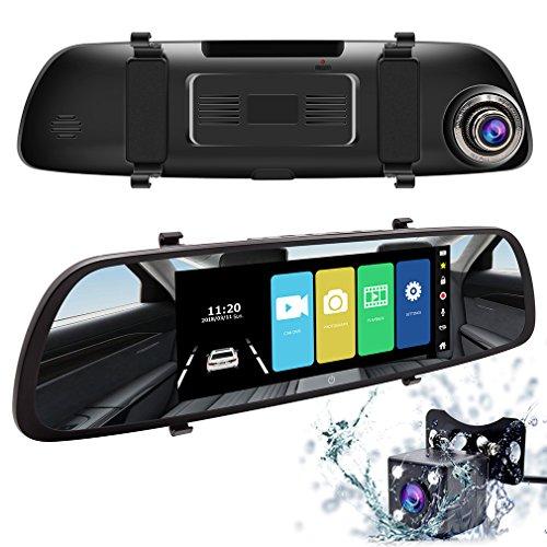 ドライブレコーダー Accfly バックミラー 型 ュアルレンズ カメラ 同時録画 駐車監視 7インチ 1080P 170度広角 1200万画素 Gセンサー 駐車監視 24ヵ月保証期間