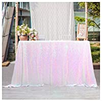 (White Iridescen) - QueenDream sequin overlay 230cm x 340cm White Iridescent sequin tablecloth glitter tablecloth for christmas