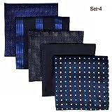 (シッラクスとウイング) Shlax&Wing メンズポケットチーフ5本セットビジネスしまシルク