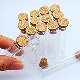Newone 15個 5ml 透明 ガラス小瓶 コルク栓 約12x60mm瓶口内径:約10mm 試験管瓶 小物作りの素材