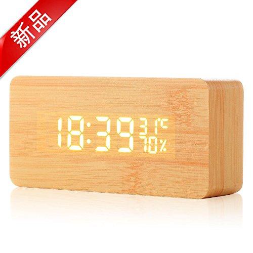 置時計 デジタル 多機能時計 Acetek アラーム LED 木製 長方形 おしゃれ 多機能 カレンダー 音声感知 卓上寝室台所用 プレゼント( ベージュ)