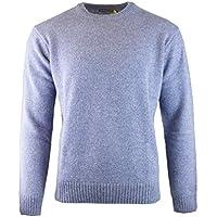 Jacksmith Men's Shetland Wool Crew Neck Cardigan Sweater Knitted Jumper Pullover (XX-Large Sky)