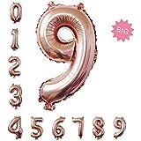 特大数字パーティー誕生日飾りアルミシャンパンカラーバルーン100cm(0-9) (9)