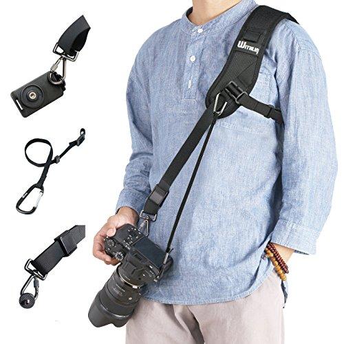 WITHLIN カメラショルダーストラップ 速写ストラップfor SLR DSLR Canon, Fuji, Nikon, Olympus, Panasonic, Pentax, Sonyなど用 (ネジ、取り付けるプレートや安全ストラップ付け)