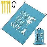 狼 レジャー旅行シートピクニックマット防水145×200センチ折りたたみキャンプマット毛布オーニングテントライトと収納が簡単ポータブル巾着