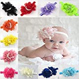 Baby Children Headband Rose Flower Pearl Hair Bow Band Accessories Head Piece (Hot pink) by Sinlifu