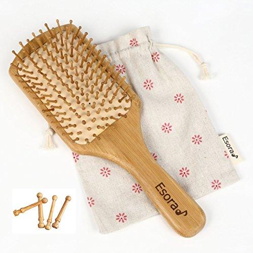 Esora 天然 竹 櫛 ヘアブラシ (替えピン付) 頭皮 マッサージ 静電防止 薄毛 ケア 木製 パドルブラシ(四角型)