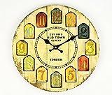 おしゃれ で 人気 北欧 イメージ の アンティーク風 木製 壁掛け 時計 お部屋のインテリア に最適 ミニ スマホスタンド 付き (クリームホワイト)
