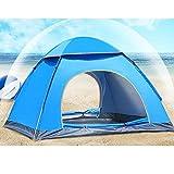 テント キャンプ用品 2人用 撥水 ロープ式 ワンタッチ 軽量 折り畳み式 登山 防災用 雨よけ (ブルー)