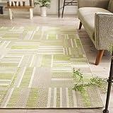モダン シック な 薄型 平織り ラグ カーペット ( プリズマ 160x230cm グリーン ) 約 2.7畳 ウィルトン織り フラットタイプ ベルギー製