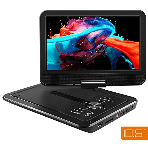 APEMAN ポータブルDVDプレイヤー 10.5インチ 車載携帯式DVD 高画質液晶スクリーン 180度回転 大容量充電バ...