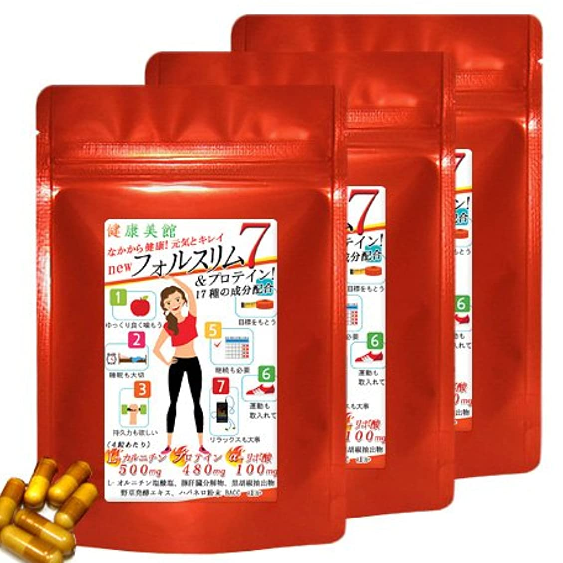 シェーバー抹消雇用者【お得用3袋セット】フォルスリム7 Lカルニチンにαリポ酸+さらにプロテインの 計17種の成分を配合しました!