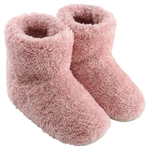 TWONE(トォネ) ルームシューズ 北欧 あったか もこもこルームブーツ 防寒 柔らかい 靴 冬 冷え性 冷え対策 可愛い ポカポカ 室内履き用スリッパ メンズ レディース 洗える 静音 Mサイズ ピンク