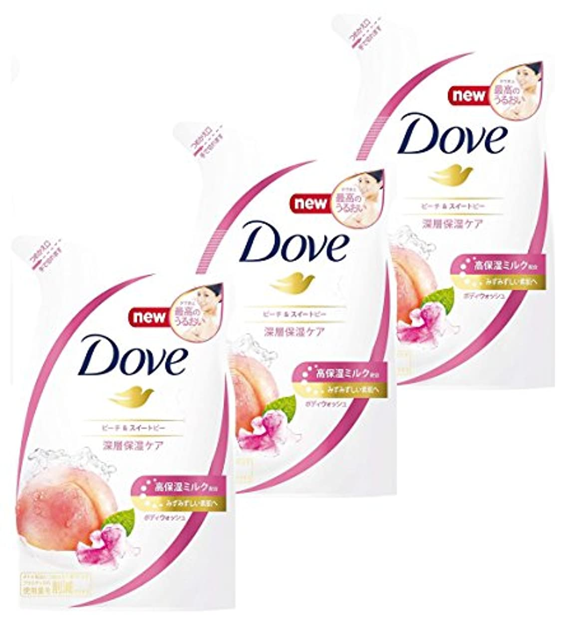 式よろめくパンチ【まとめ買い】Dove(ダヴ) ボディウォッシュ ピーチ & スイートピー つめかえ用 360g×3個