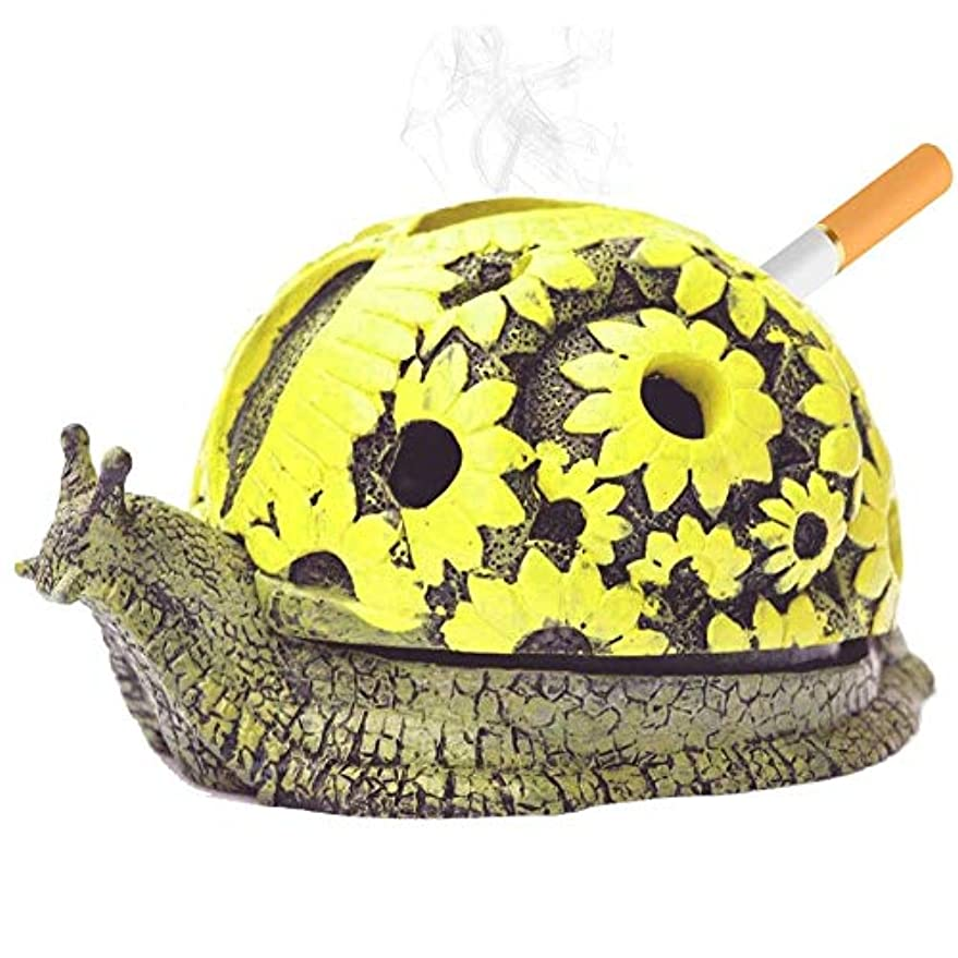 エキスパートディスパッチセイはさておき家族や友人のための屋内と屋外のホームオフィスデコレーションクリエイティブギフト(かたつむり)用フタ樹脂灰ホルダーとタバコ屋外灰皿用Rabbitroom灰皿