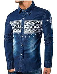 gawaga メンズロングスリーブプリントデニムシャツカジュアルスリムフィットボタンダウンシャツ