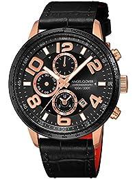 [エンジェルクローバー]Angel Clover 腕時計 LUCE ブラック文字盤 60分計クロノグラフ/セラミックベゼル LU44PBK-BL メンズ