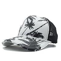 女性の帽子 メッシュ野球帽女性男性夏ココナッツツリーシーサイドホリデートラック運転手の帽子と海辺 (色 : ブラック, サイズ : 56〜60CM)