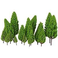 【ノーブランド品】1/50-1/400サイズ 鉄道模型 鉄道風景 箱庭用 モデルツリー 樹木 塔型 (ライトグリーン) 20本