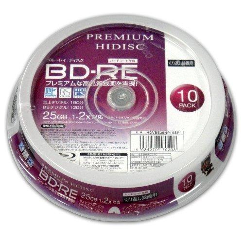 HIDISC/ハイディスク  PREMIUM HIDISC BD-RE くり返し録画 2速 25GB 10Pスピンドルケース HDVBE25NP10SP