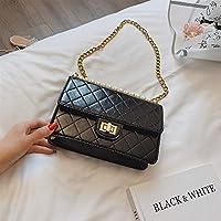 Adebie - Women Fashion Flap Female Plaid Shoulder Messenger Bags Pearl PU Leather Ladies Handbags Famous Brand Designer Crossbody Bags Black2 []