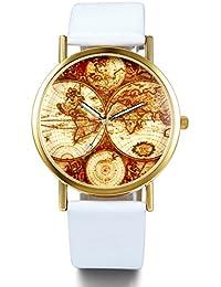 JewelryWe バレンタインデー 愛の証に:アンティーク カジュアル メンズ レディーズ 腕時計,マップパターン,PUレザー クォーツ アナログ合金 ホワイト