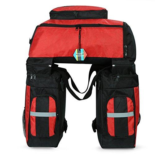 Pellor リアキャリアバッグ 自転車バッグ 大容量 自転車サイドバッグ 3色選択可能 携行バッグ 取り付け簡単 防水カバー付き リュックサックとして利用可能 (レッド)