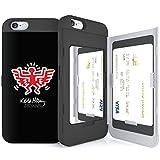 iPhone6S ケース 《SKINU》 キースへリング・KEITH HARING・カード収納可能・衝撃吸収抜群・傷防止・ミラー付き・スタンド機能・ICカード/クレジットカード完璧収納 (エンジェルウィングブラック)