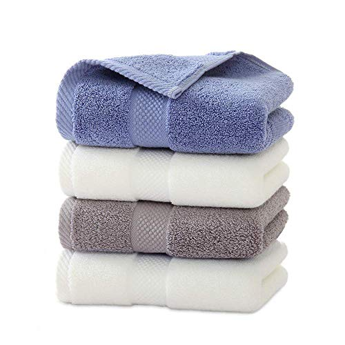 フェイスタオル 綿 柔らか 吸水抜群 蛍光染料不使用 ホテルタイプ タオル 約34x74cm 4枚セット