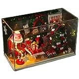 手作り ドールハウス クリスマス の夜 ミニチュア キット セット ライト付き インテリア ハンドメイド