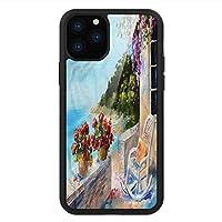 iPhone 11 Pro Max 用 強化ガラスケース クリア 薄型 耐衝撃 黒 カバーケース 海景 バルコニーシーロッキングチェア iPhone 11 Pro 2019用 iPhone11ケース用
