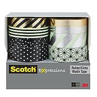 Scotch Expressions 和紙テープ マルチパック 8ロール/パック ミント ブラックとメタリックのドットとストライプコレクション (C1017-8-P1)