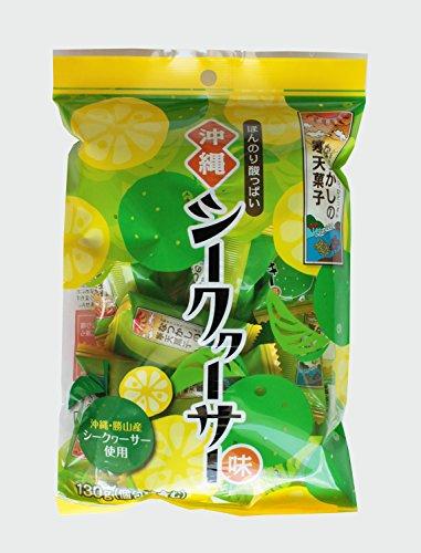 なつかしの寒天菓子(シークァ―サー味)130g×20袋(1ケース) 勝山シークヮ―サー 海藻を主原料に作られた寒天に、シークヮーサー果汁を加えた寒天菓子 一口サイズにソフトな食感