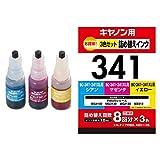 エレコム 詰め替えインク キャノン BC-341 3色セット 8回分 THC-341CSET8