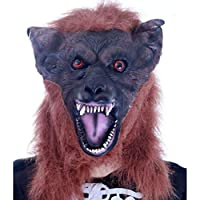マスク マスクハロウィーン仮面ホラーゴーストフェイスシミュレーション動物ブラウンウルフヘッドマスクヘッドカバー (色 : A)